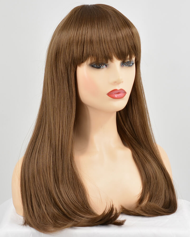 Straight Brown Wefted Wig With Bangs HW053