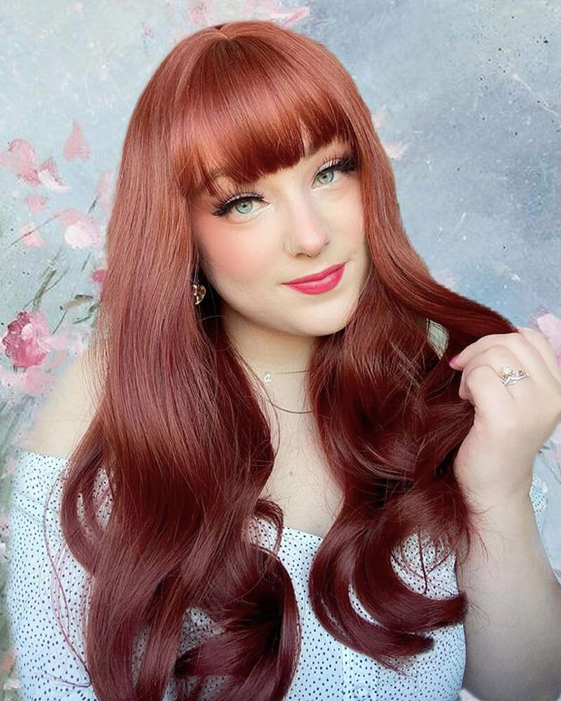 Auburn Red Synthetic Lace Front Wig WW120