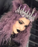 Purple Curly Short Synthetic Lace Front Wigs Bob Hairstyle WT013