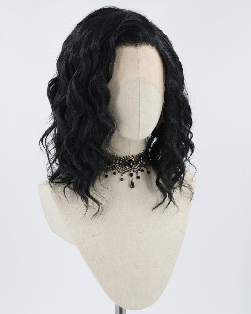 Black Curly Long Synthetic Lace Front Wig WW090