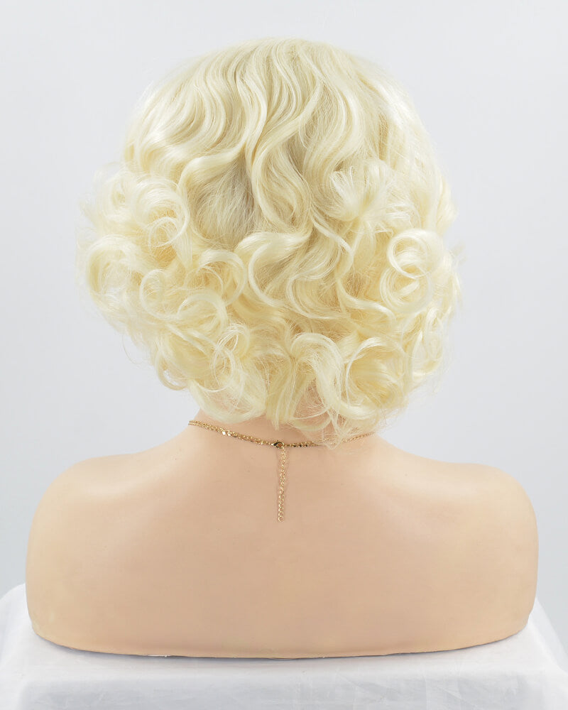 Short Wavy Blonde Synthetic Lace Front Wig WW131