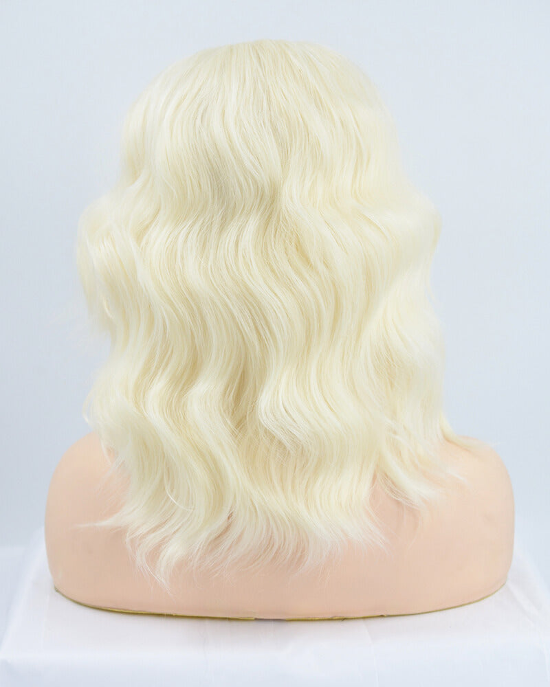 Curly Short Platinum Blonde Synthetic Lace Front Wig WW129