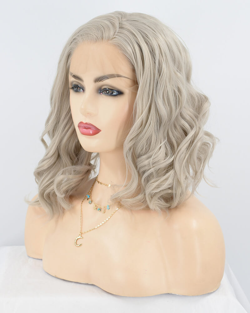 Grey Curly Short Synthetic Lace Front Wig WT119