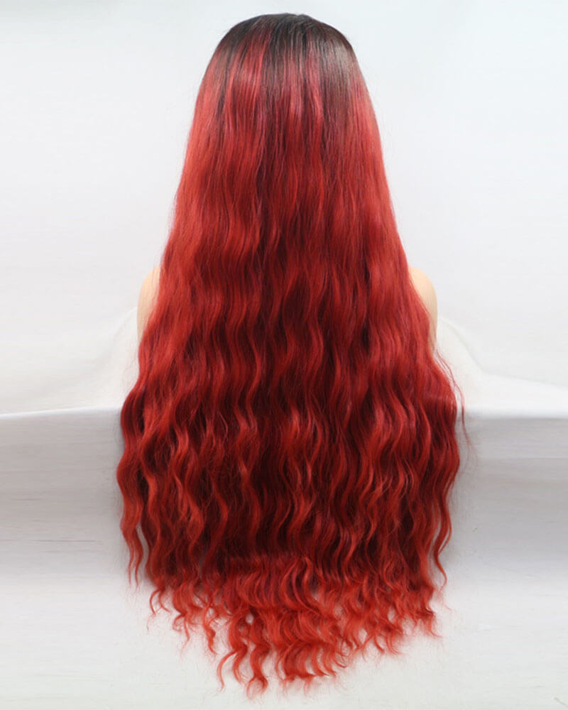 Ombre Red Synthetic Lace Front Wig WT099