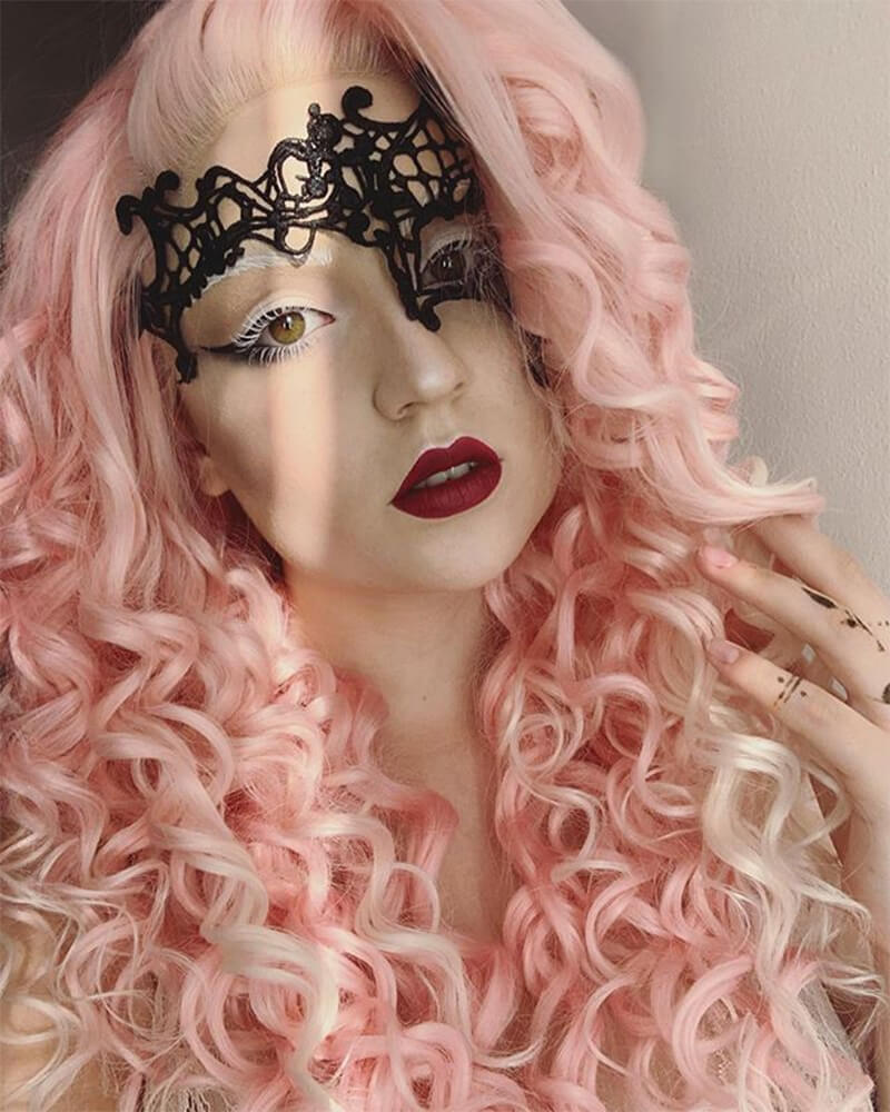 Long Pink Synthetic Lace Front Wig WW028
