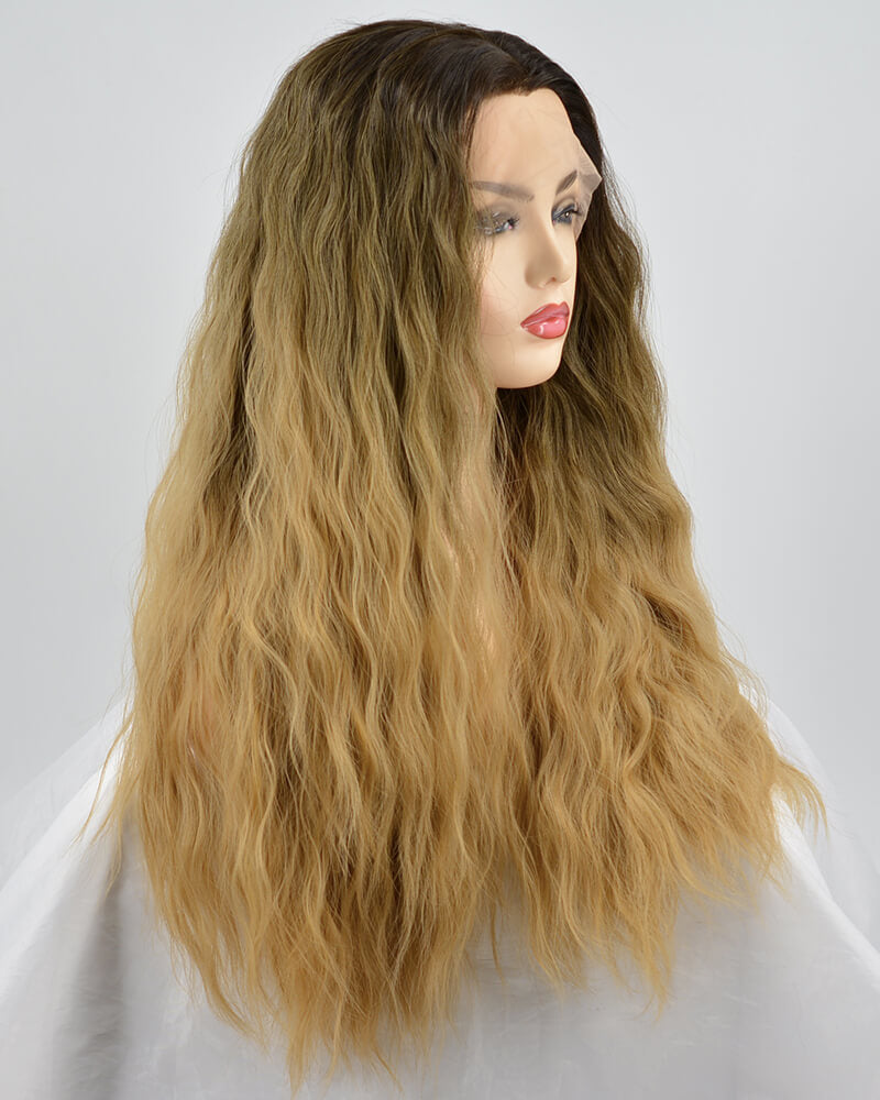 Ombre Brown Curly Synthetic Lace Front Wig WW225