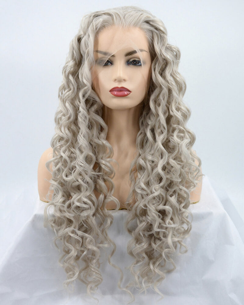 Long Gray Curly Synthetic Lace Front Wig WW027