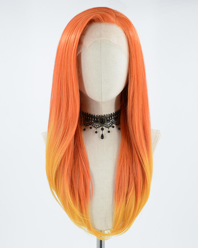 Mixed Orange Synthetic Lace Front Wig WW012