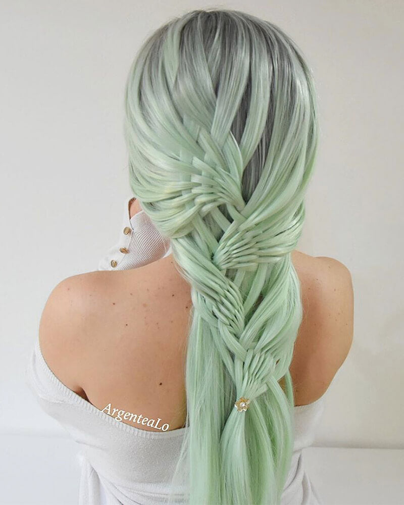 Ombre Green Synthetic Lace Front Wig WT036