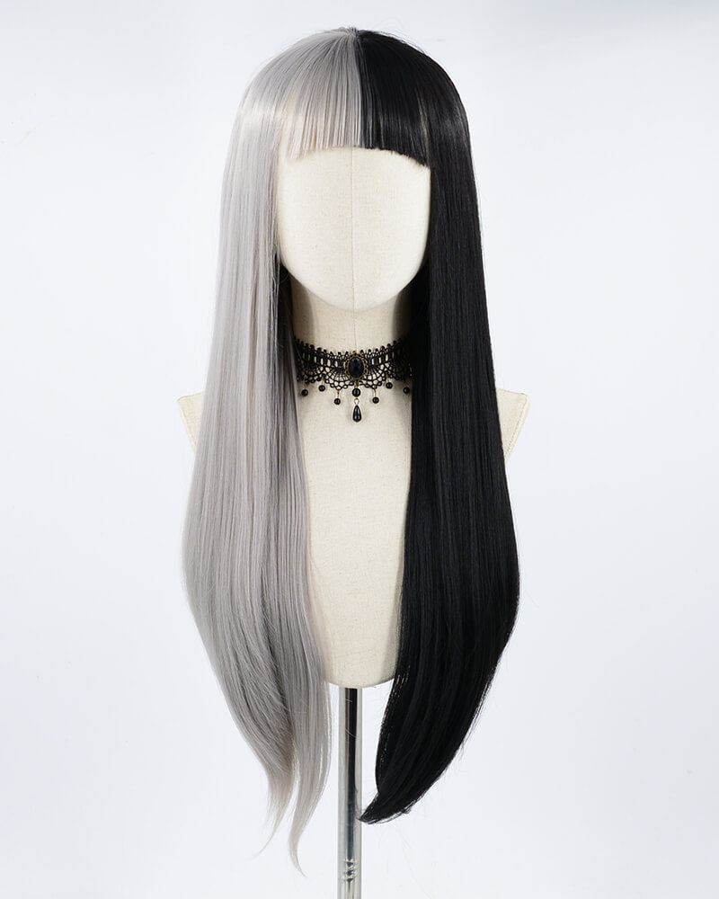 Half Black Half Grey Synthetic Lace Front Wig With Bangs WW190