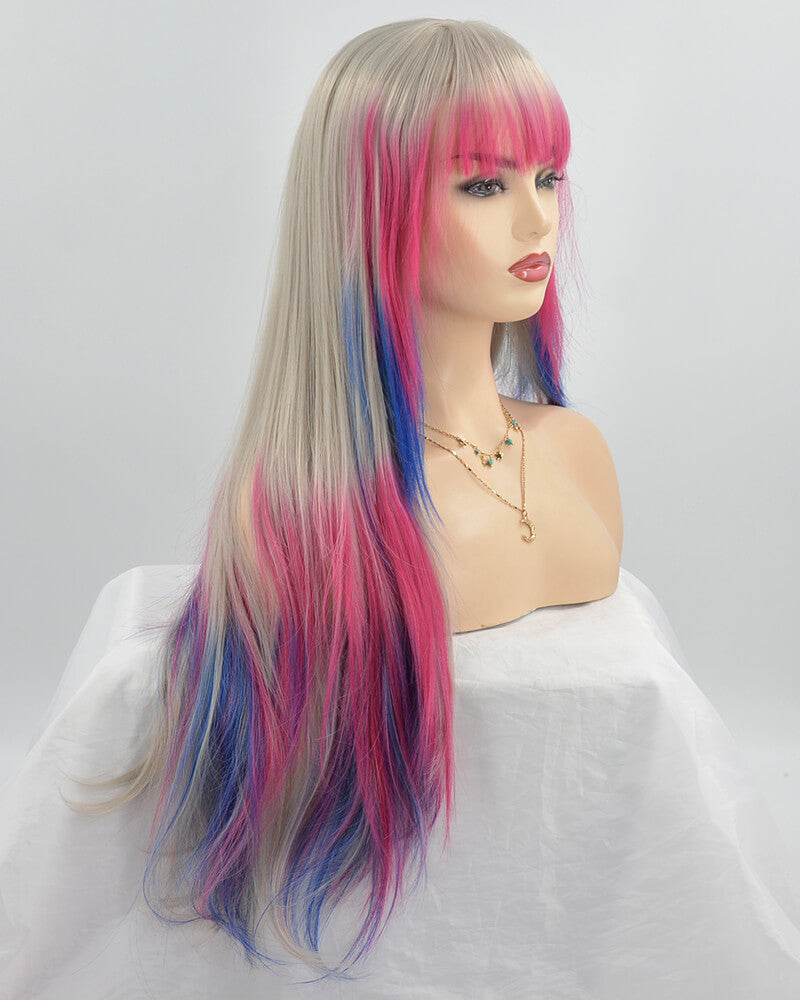Grey Ombre Pink Blue Synthetic Lace Front Wig With Bangs WW242
