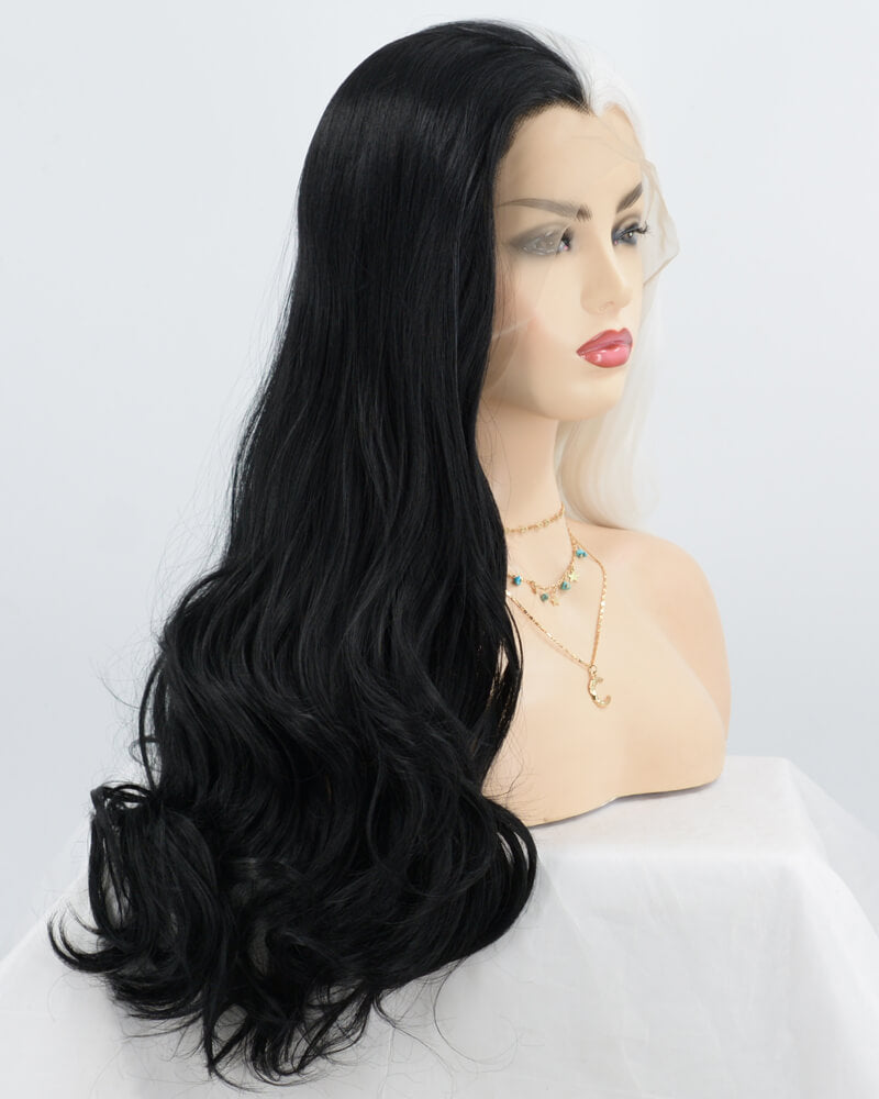 Half Black Half White Synthetic Lace Front Wig WW041