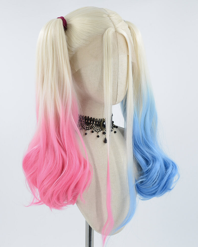 Half pink Half Blue Harley Quinn Synthetic Lace Front Wig WT065