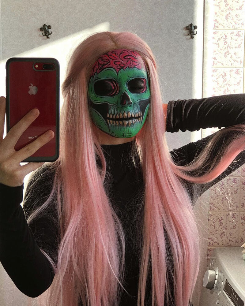 Pink Straight Synthetic Lace Front Wig WT086