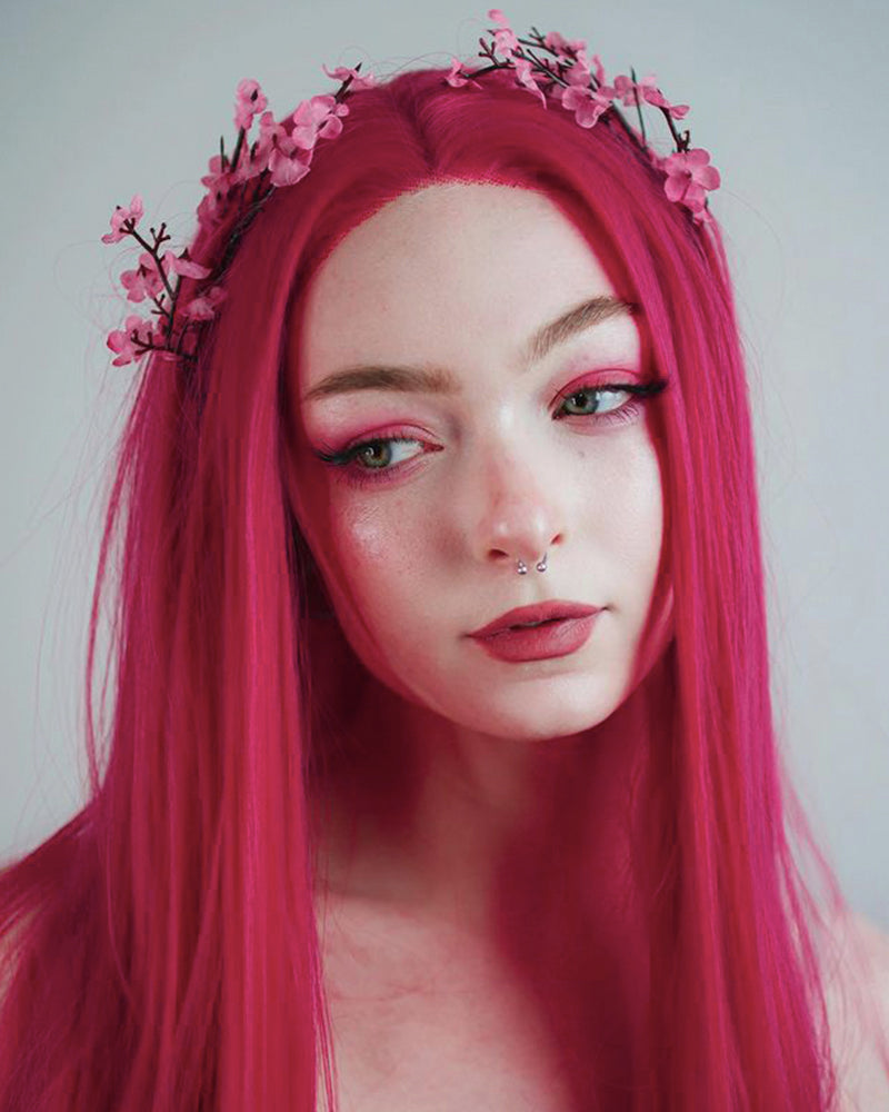 Hot Pink Synthetic Lace Front Wig WT088
