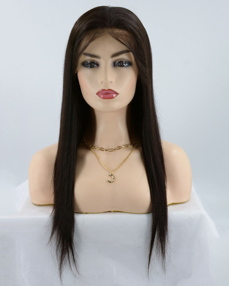 Natural Black Human Hair Silk Straight Lace Wig HT006