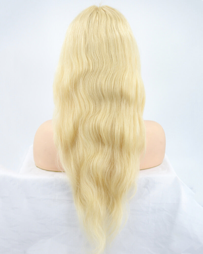613 Blonde Wavy Human Hair Lace Wig HT026