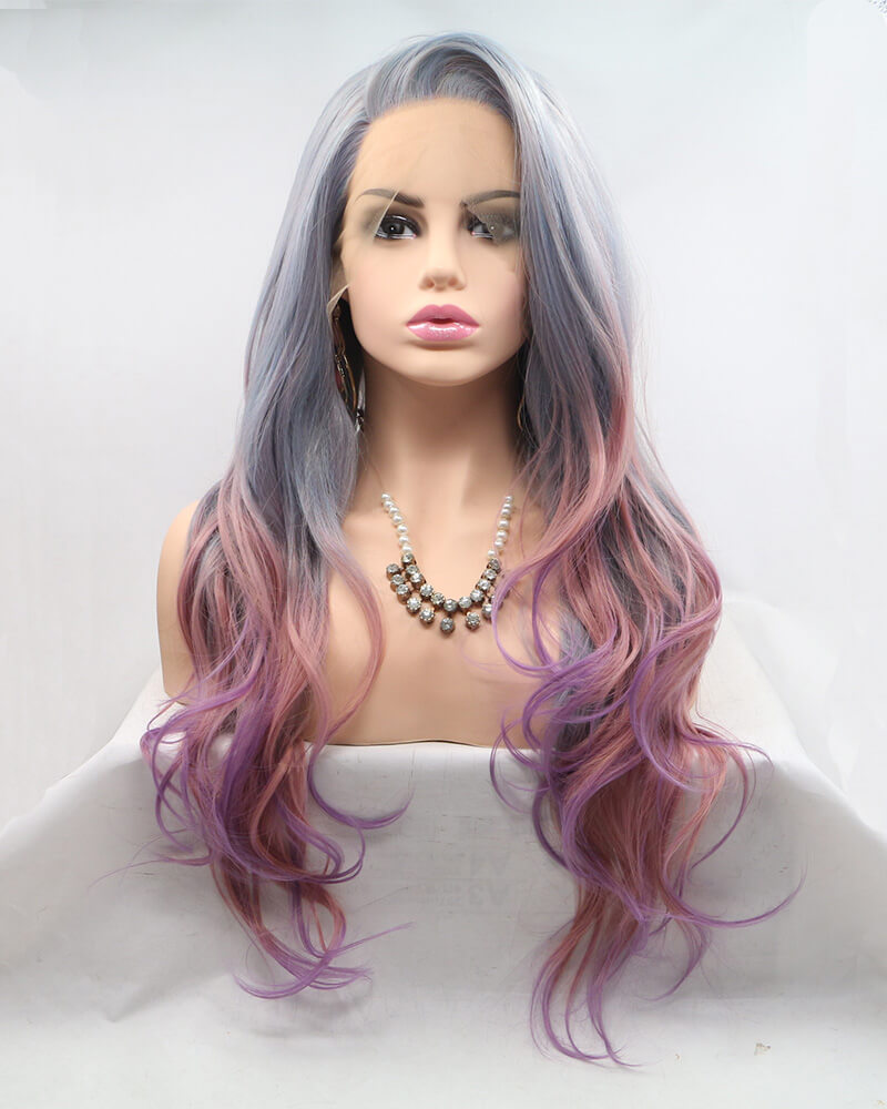 Grey Ombre Pink Purple Synthetic Lace Front Wig WT134