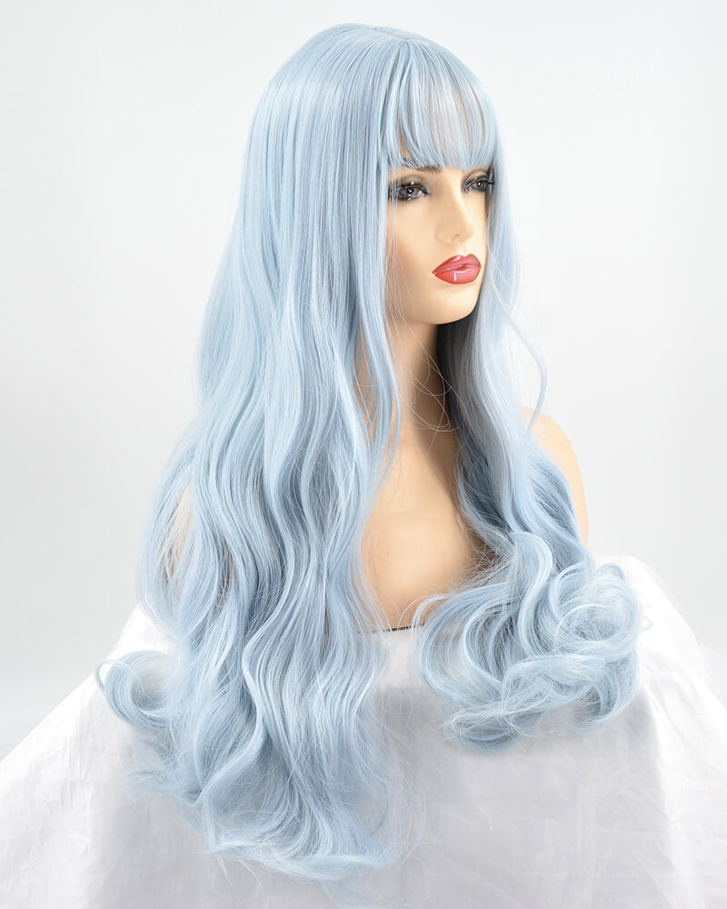 Long Blue Synthetic Lace Front Wig WT106