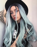 Pastel Green Long Wavy Synthetic Lace Front Wig WT021