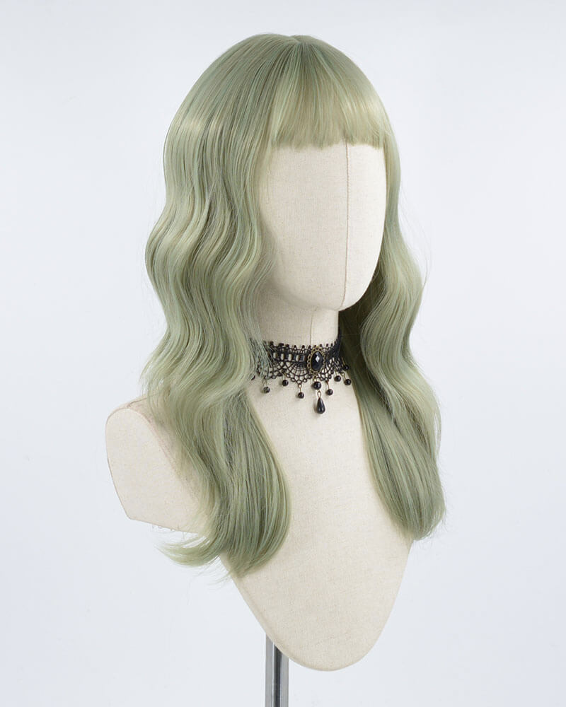 Light Green Wavy Synthetic Lace Front Wig WW216