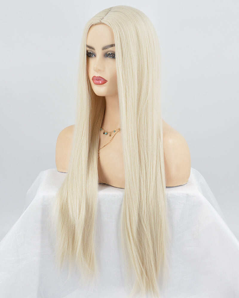 Platinum Blonde Wefted Cap Synthetic Wig HH004