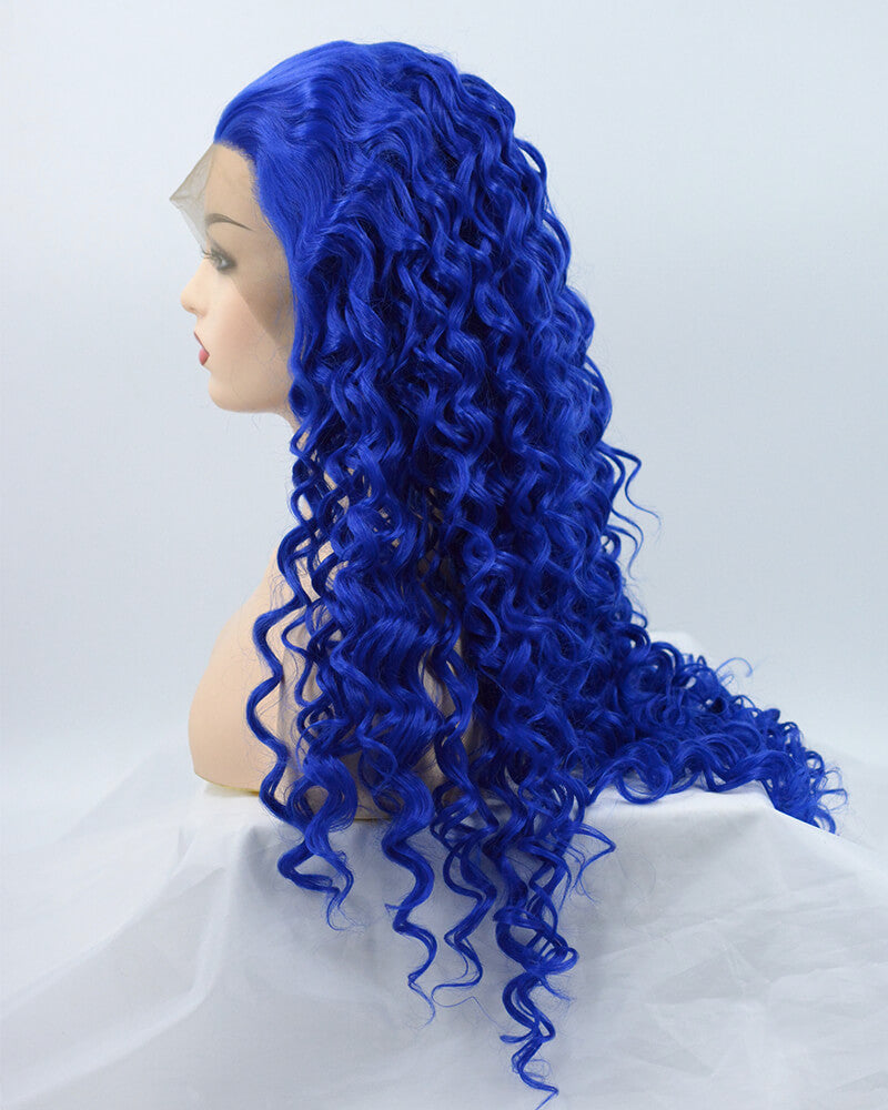 Blue Curly Synthetic Lace Front Wig WW175