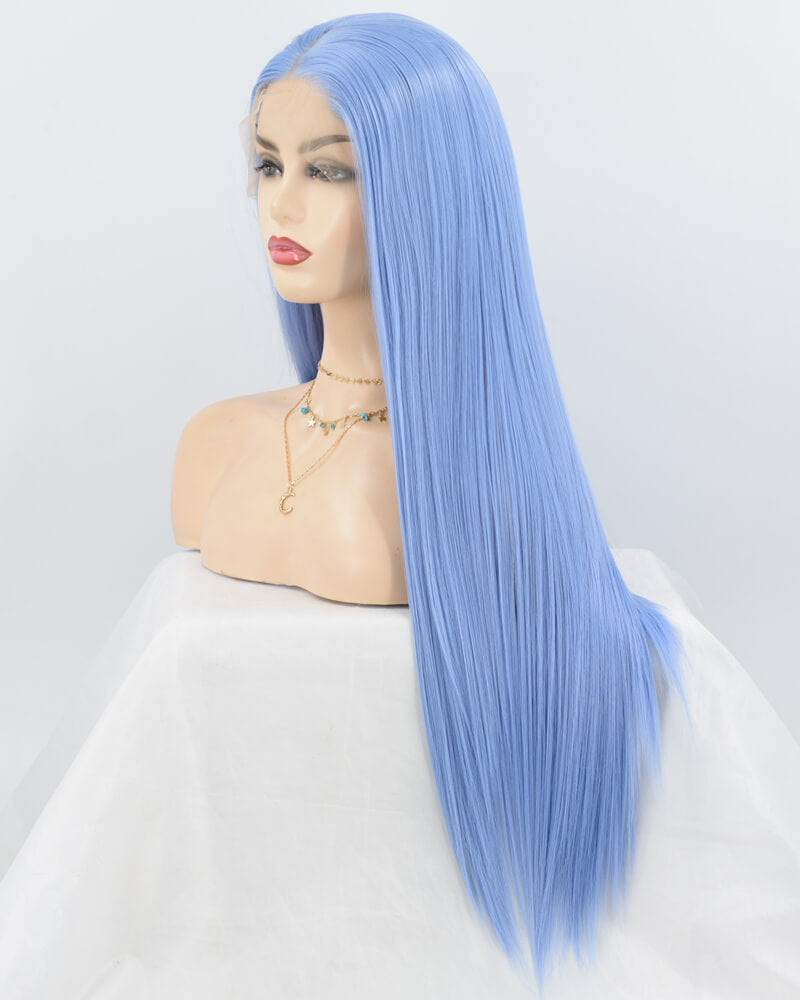 Long Blue Synthetic Lace Front Wig WW065