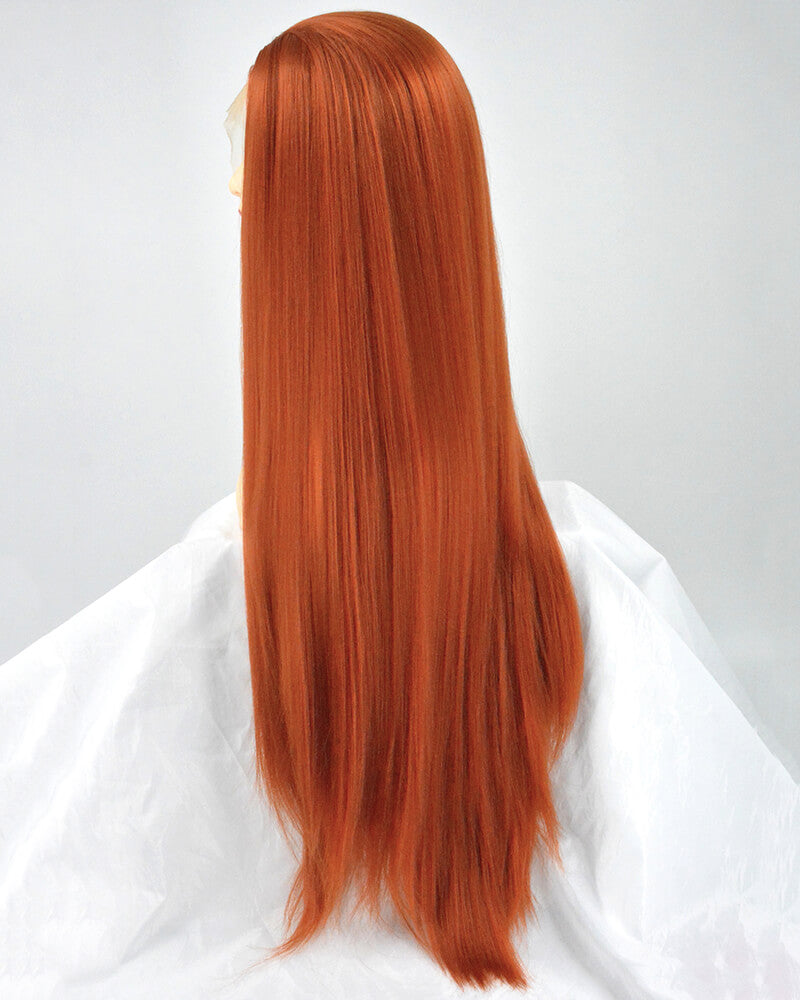 Long Copper Red Yaki Straight Synthetic Lace Front Wig WT028