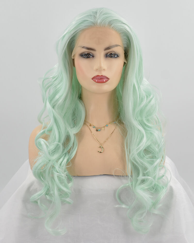 Long Light Green Synthetic Lace Front Wig WW247