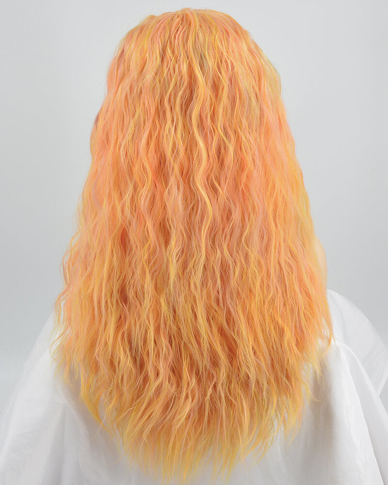 Ombre Orange Curly Synthetic Lace Front Wig W233