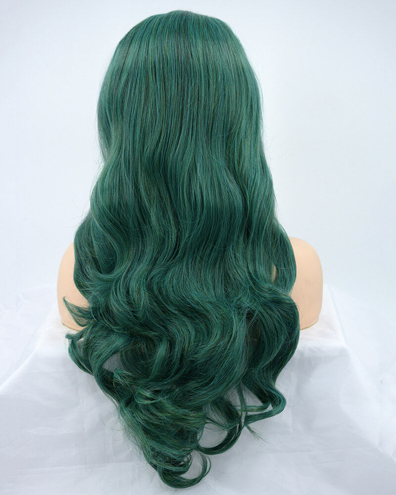 Green Wavy Synthetic Lace Front Wig WW139
