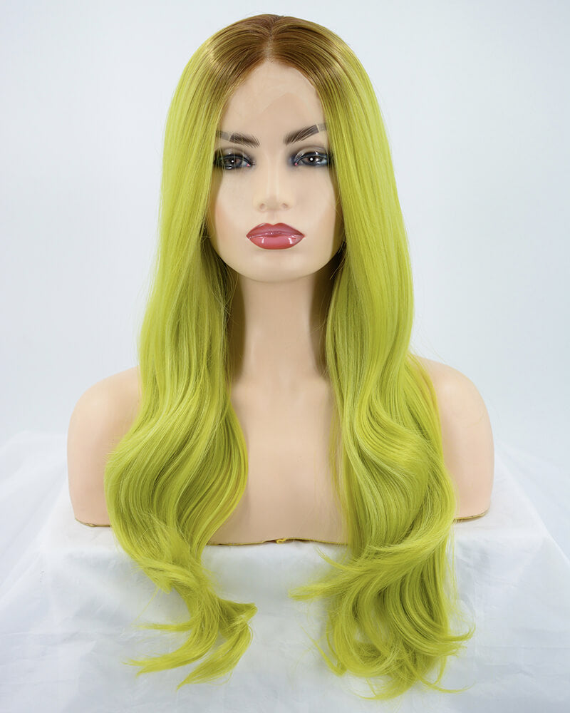 Ombre Avocado Green Synthetic Lace Front Wig WW170