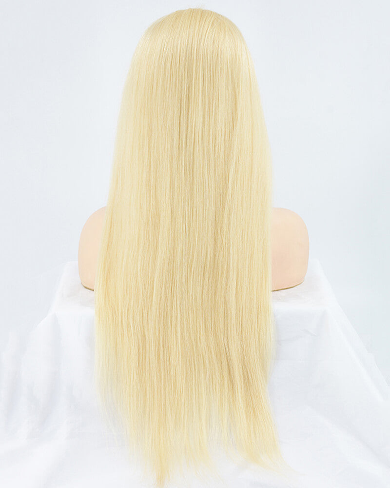 613 Blonde Human Hair Lace Wig Silky Straight HT003