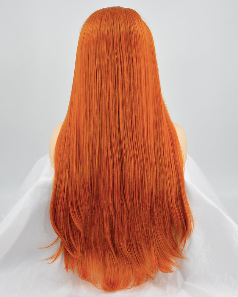 Long Orange Synthetic Lace Front Wigs WT168