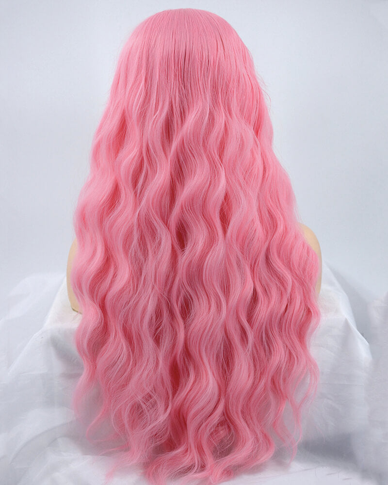 Long Pink Wavy Synthetic Lace Front Wig WW171