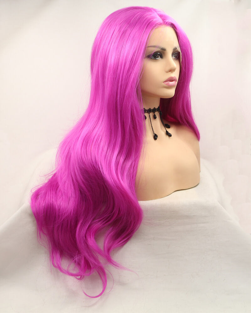 Synthetic Lace Front Wig Hot Pink WT138