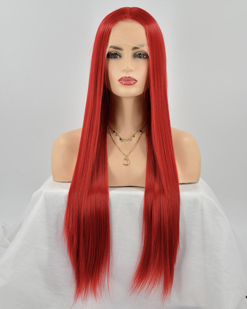 Straight Red Synthetic lace Front Wig WW254