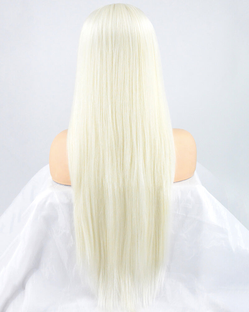 Platinum Blonde Straight Synthetic Lace Front Wig WT146