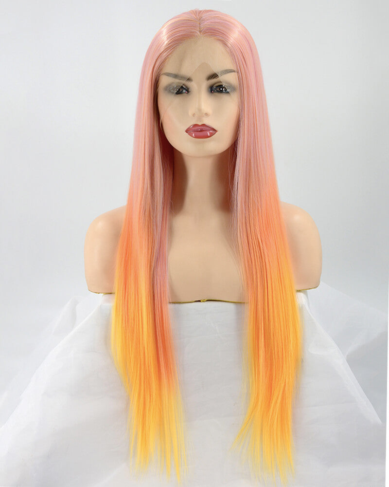 Ombre Yellow Synthetic Lace Front Wig WW059