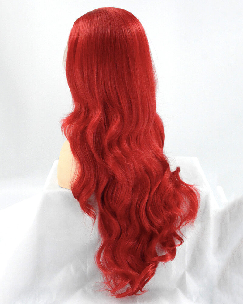 Red Long Wavy Synthetic Lace Front Wig WW168