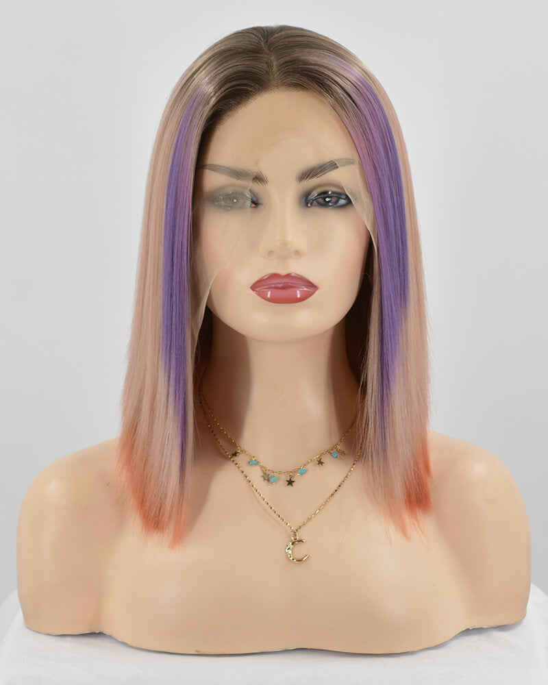 Mixed Pink Short Synthetic Lace Front Wig WW249