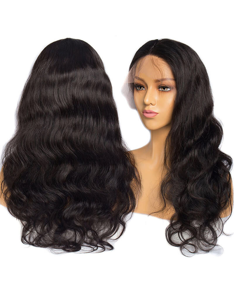 Natural Black Wavy Human Hair Wig HT027