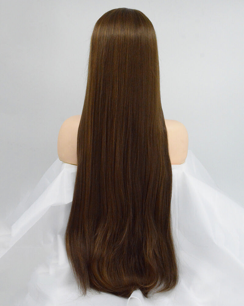 30 Inch Long Brown Synthetic Lace Front Wig WW151