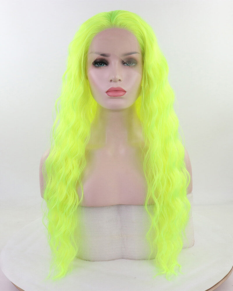 Neon Green Curly Synthetic Lace Front Wig WW089