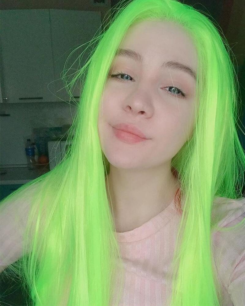 Neon Green Straight Synthetic Lace Front Wig WW071