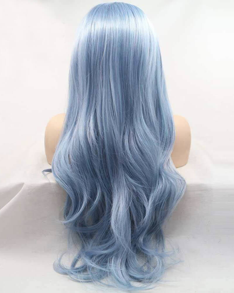 New Blue Long Wavy Synthetic Lace Front Wig WT145