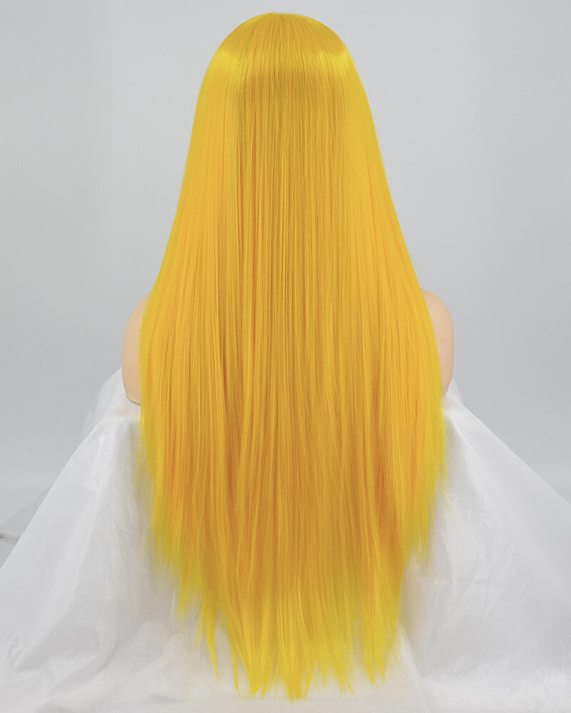 Yellow Straight Synthetic Lace Front Wig WW237
