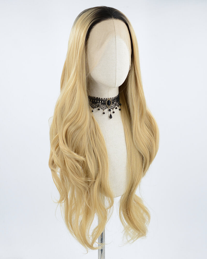 Wavy Short Blonde Synthetic Lace Front Wig WT052