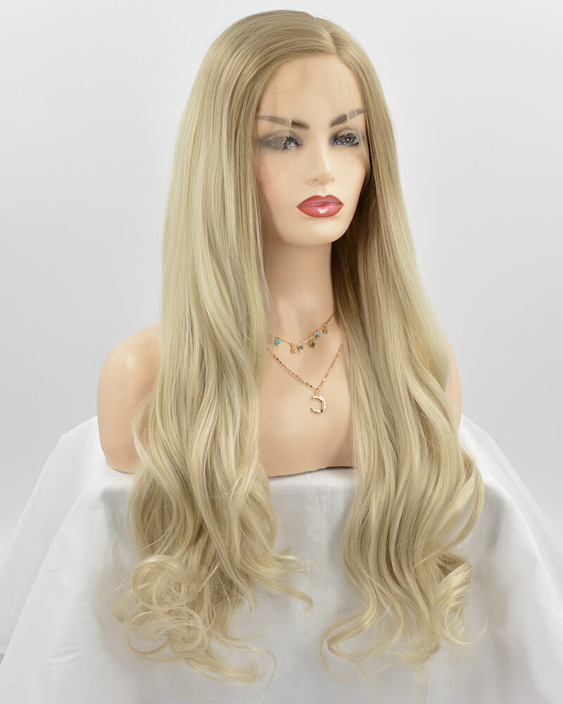 Ombre Blonde Wavy Synthetic Lace Front Wig WT177